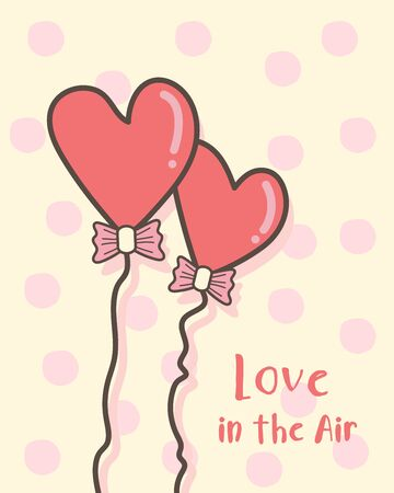 Happy Valentines Day greeting card with red heart shape balloons, Valentines Day background with a calligraphic love in the air, Valentine card and poster