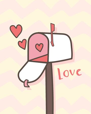 Happy Valentine's Day Open mailbox with hearts, Valentines Day letterbox background, Valentine card and poster