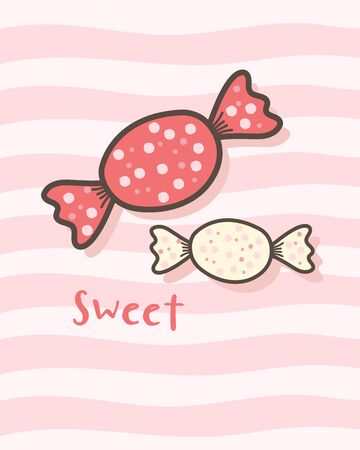 Happy Valentines Day with cute candy, Valentines Day sweet taffy, Valentine card and poster 向量圖像