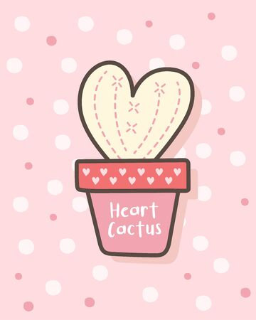Happy Valentine's Day with heart shaped cactus, Valentines Day background, Valentine card and poster