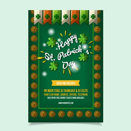 Saint Patrick s Day Poster, Brochure, Holiday Invitation. Vector Illustration Ilustracja