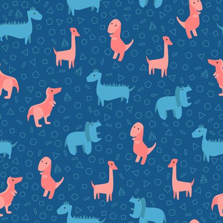 Dinosaurs seamless pattern for kids, Creative vector childish background Vectores