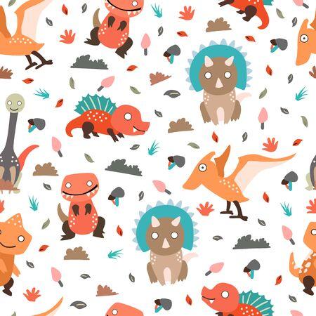 Dinosaurs seamless pattern for kids, Creative vector childish background 向量圖像
