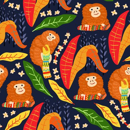Tropical leaves seamless pattern with monkey. Summer vector background Vectores