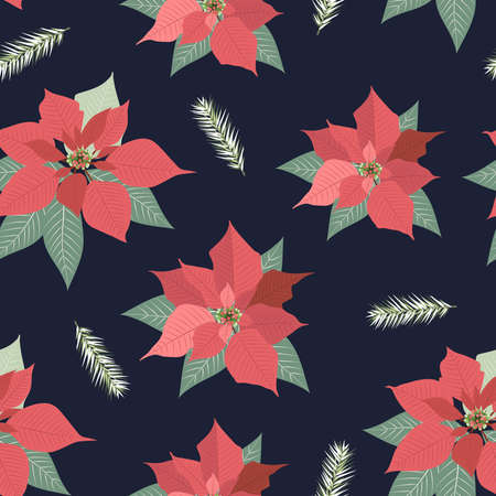 Christmas seamless pattern with poinsettia plant background, Winter pattern, wrapping paper, winter greetings, web page background, Christmas and New Year greeting cards