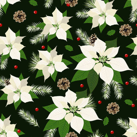 Christmas seamless pattern with poinsettia plant background, Winter pattern, wrapping paper, winter greetings, web page background, Christmas and New Year greeting cards Vector Illustration