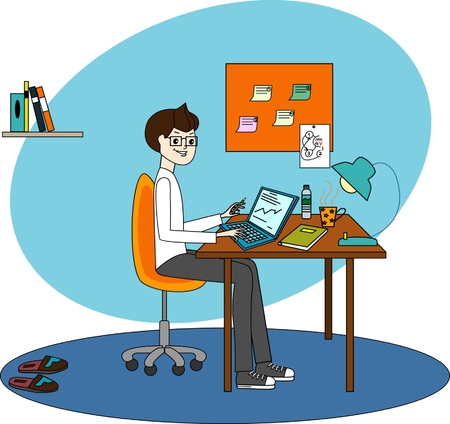 make a call: Man freelancer to work at home and at work