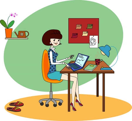 laptop screen: Woman freelancer to work at home and at work Illustration