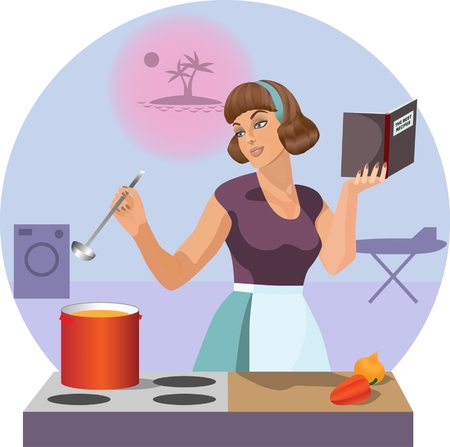 Dreaming housewife Vector