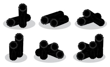 Définir le charbon de bois d'illustration vectorielle isolé sur fond blanc Vecteurs