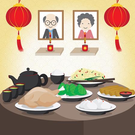 Vektor Chinesisches Neujahr, China Familie feiern im Geisterfest.
