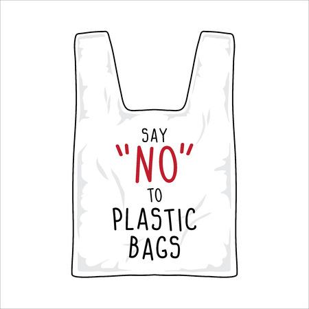 vector de señal, di no a las bolsas de plástico.