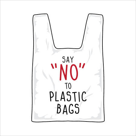 vector sign, say no to plastic bags. 일러스트