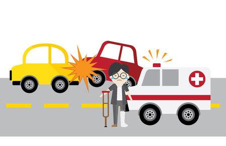set vector accident car and smash up, isolated auto mobile crash on white background. Ilustração Vetorial