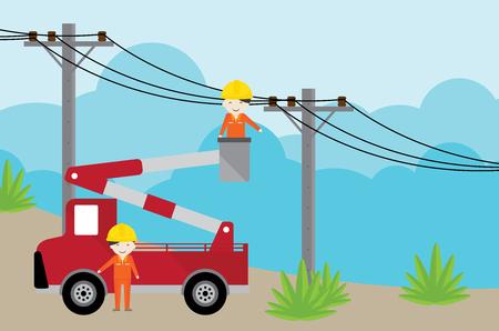 electricista en grúa de coche picker y trabajando con poste de electricidad. Ilustración de vector