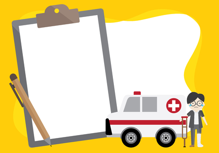 vector object about hospital, doctor and insurance. frame illustration and have space for write text.