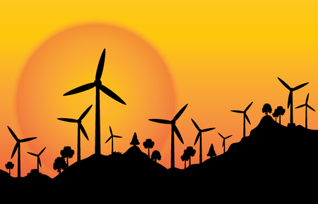 vector silhouette wind wheel electric energy with sunset background.