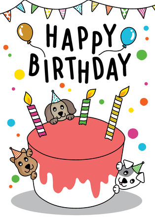 Vector doodle Cute cat and dog with cake for Happy Birthday card, have space for text Ilustração Vetorial