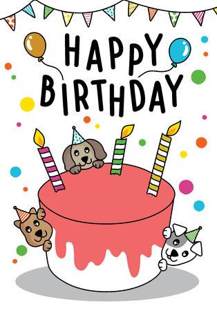 Vector doodle lindo gato y perro con pastel para tarjeta de feliz cumpleaños, tiene espacio para texto Ilustración de vector