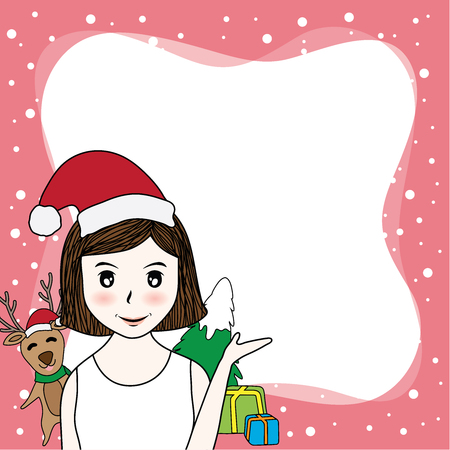 vector cartoon border have beauty santa claus , deer and christmas tree on pink background. have space for copy text 일러스트