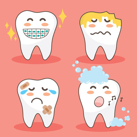 Vector character happy and funny teeth set. illustration doodle drawing cute design tooth.