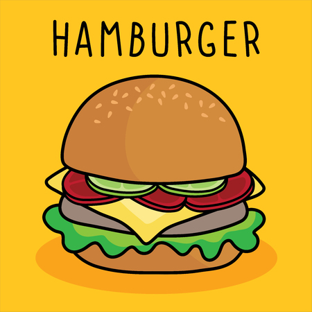 vector cartoon hamburger , cheese and vegetable on yellow background.