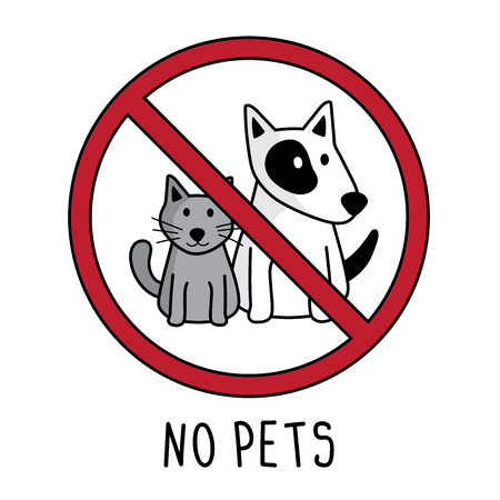 vector no pets symbol sign. doodle hand drawing. no cat and dog isolated on white background.