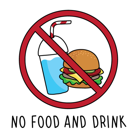 vector no food and drink allowed area symbol sign. doodle hand drawing. isolated on white background.