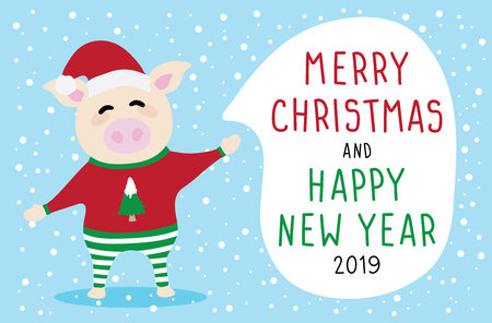 set vector graphic cartoon card about Merry Christmas and Happy New Year