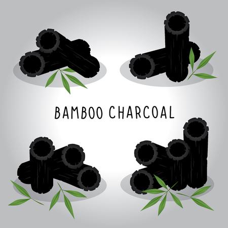 Set vector illustration charbon de bambou isolé sur fond blanc Vecteurs