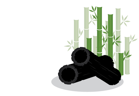 Set vector illustration charbon de bambou isolé sur fond blanc