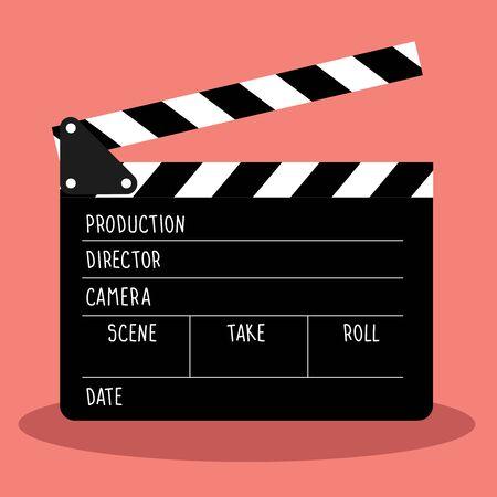 tablilla de vector para el cine. la película de fotogramas y la pizarra tienen espacio para texto.