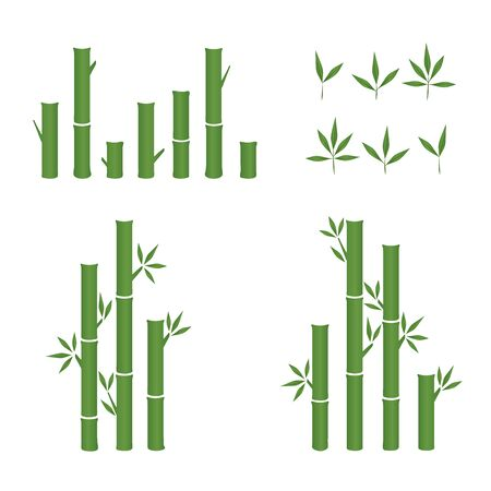 vector leaf green bamboo icon set.