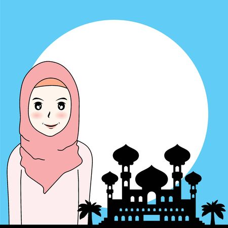 Vector illustration cartoon couple Muslim man and woman Foto de archivo - 132180072
