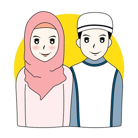 Vector illustration cartoon couple Muslim man and woman Foto de archivo - 132180081