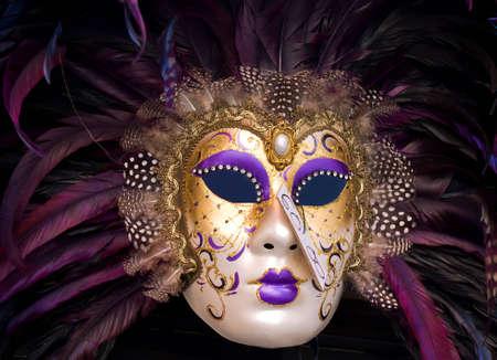 carnivale: Venice carnival purple mask Stock Photo