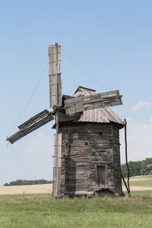 Kyiv, Ukraine-June 17, 2011-Windmill in the National Museum of Folk Architecture and Life of Ukraine near Kiev 報道画像