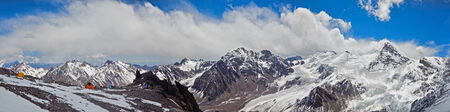 aconcagua: Panoramic Veiw of Canada Camp on Aconcagua. Hight 5000 meters