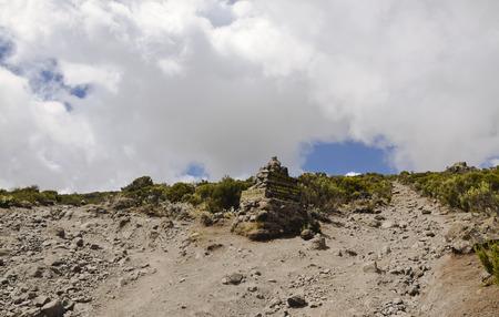milestone: Milestone in way to top Kilimanjaro Stock Photo