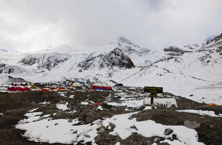 aconcagua: High-altitude camp at Plaza de mules Aconcagua