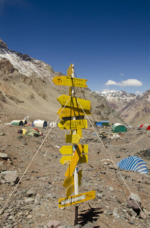 aconcagua: A pointer to the distance to cities and countries on Plaza de Mules