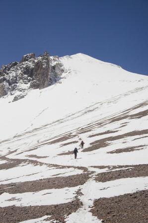 aconcagua: Climbers on the slope of Aconcagua Stock Photo