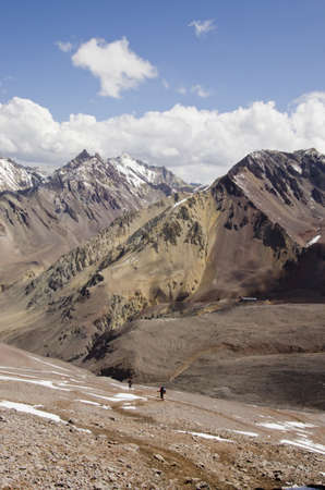 aconcagua: On the descent from the mountain Aconcagua
