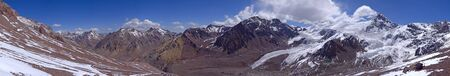 aconcagua: Panoramic Veiw from  Aconcagua slope. Hight 5000 meters Stock Photo