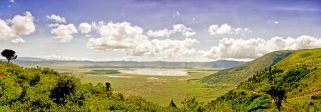 great plains: Panoramic View of NgorongoroPanoramic Stock Photo
