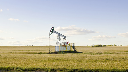 chink: Oil pump on chink in the field Stock Photo