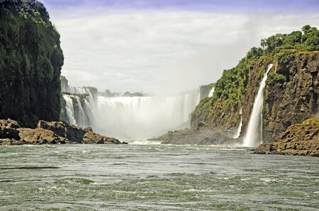 veiw: Veiw of Waterfall Diablo Throat from water in the Iguasu Stock Photo