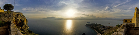 bourtzi: Panoramic view of the sunset from Palamidi in Nafplion Stock Photo
