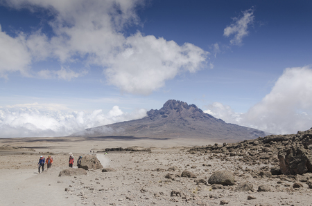 View of Mawenzi to Kilimanjaro at an altitude of 4,700 meters from Kibo Hat shelter