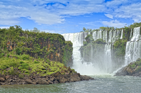 Panoramic view of Waterfall San Marti in Iguasu river Prana